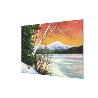 Vista de la montaña de Whiteface del lago adentro Impresión En Lienzo Estirada