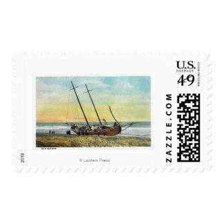 Vista de la nave del corredor del ron en tierra sellos postales