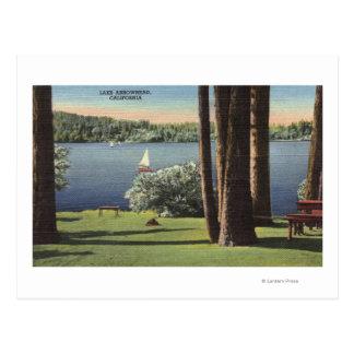 Vista de la orilla y del lago herbosos tarjeta postal