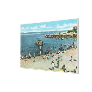 Vista de la playa de los sauces de Salem Impresión En Lienzo Estirada