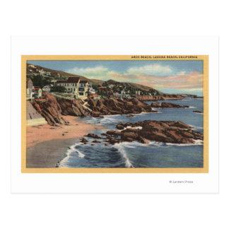 Vista de la playa del arco con los hogares tarjetas postales