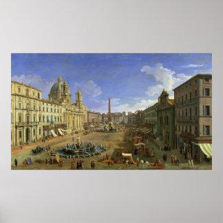 Vista de la plaza Navona, Roma Póster