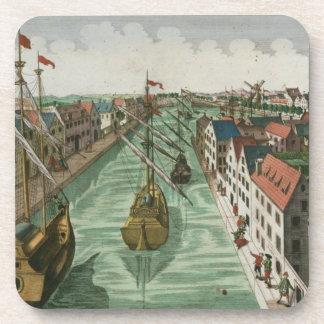Vista de la puerta de Kettel en Delft (grabado) Posavasos