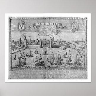 Vista de La Rochelle, firmada por Jollain (grabado Posters