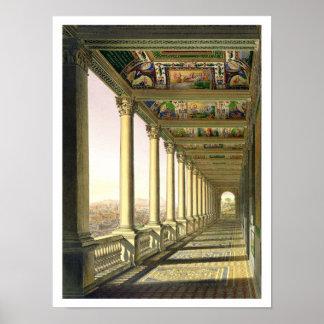 Vista de la tercera logia del piso en el Vatican,  Póster
