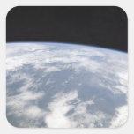 Vista de la tierra del planeta del espacio pegatina cuadrada