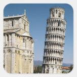Vista de la torre inclinada pegatina cuadrada