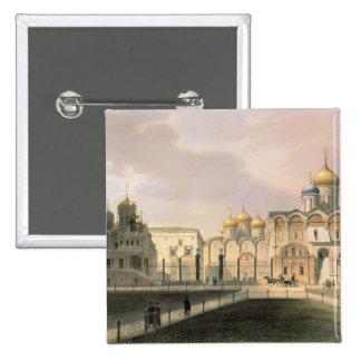 Vista de las catedrales en la Moscú el Kremlin Pin Cuadrada 5 Cm
