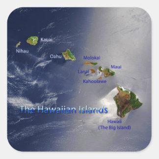 Vista de las islas hawaianas pegatina cuadrada