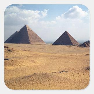 Vista de las pirámides de Cheops Calcomanía Cuadrada