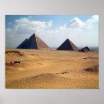 Vista de las pirámides de Cheops Póster