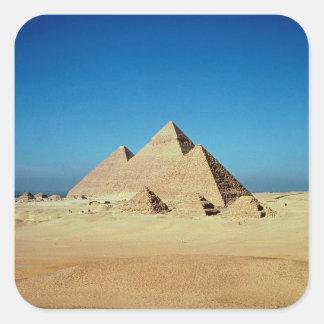 Vista de las pirámides calcomania cuadradas personalizada