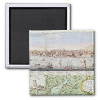Vista de Lisboa, 1755 Imán Cuadrado