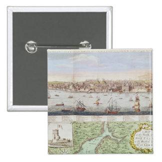 Vista de Lisboa, 1755 Pin Cuadrado