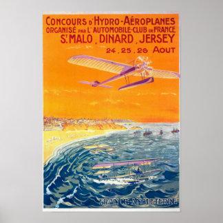 Vista de los aviones del flotador en poster del ai