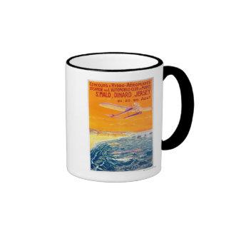 Vista de los aviones del flotador en poster del taza de dos colores