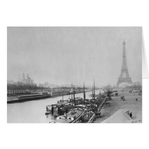 Vista de los bancos del Sena y de Eiffel Tarjeta De Felicitación