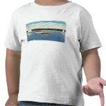 Vista de los barcos de la vela y de motor en el camisetas
