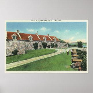 Vista de los cuarteles del sur de la bandera póster
