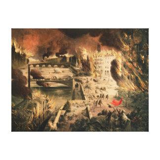 Vista de los fuegos en París durante la comuna Lona Estirada Galerias