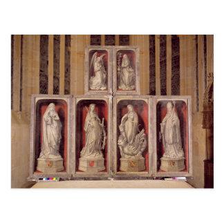 Vista de los paneles del altarpiece cerrado tarjetas postales