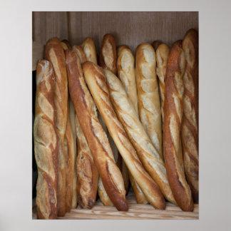 vista de los panes del pan en la exhibición de la póster