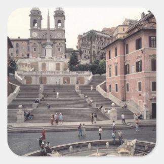 Vista de los pasos o del Scalinata del español Pegatina Cuadrada