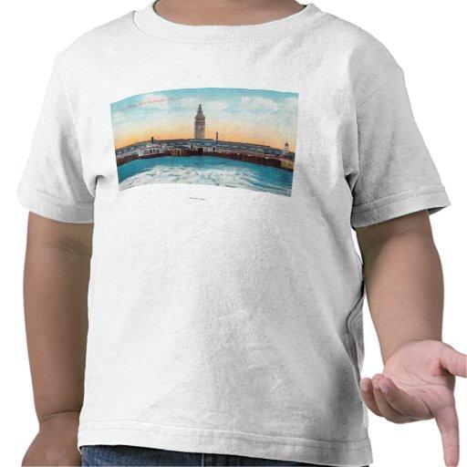Vista de los resbalones y de la torre del camisetas