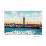 Vista de los resbalones y de la torre del tarjeta postal