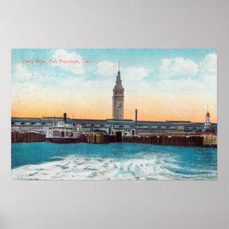 Vista de los resbalones y de la torre del transbor póster