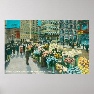 Vista de los vendedores de la flor de la calle póster