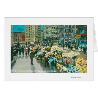 Vista de los vendedores de la flor de la calle tarjeta de felicitación