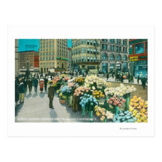 Vista de los vendedores de la flor de la calle tarjetas postales
