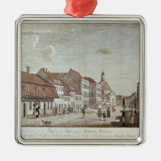 Vista de Mauer Strasse, Berlín, 1776 Adorno Cuadrado Plateado
