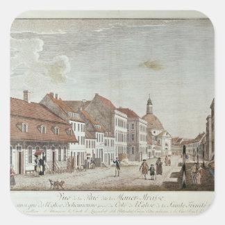 Vista de Mauer Strasse, Berlín, 1776 Pegatina Cuadrada