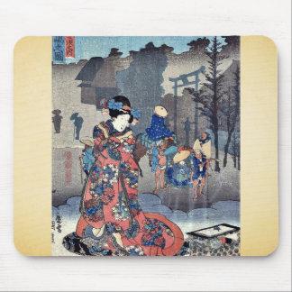 Vista de Mishima por Utagawa, Toyokuni Ukiyoe Tapetes De Ratones