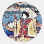 Vista de Miya por Utagawa, Toyokuni Ukiyoe Etiqueta Redonda