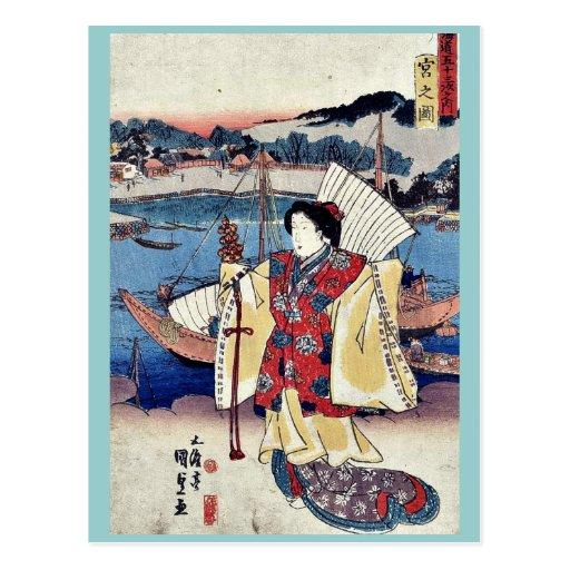 Vista de Miya por Utagawa, Toyokuni Ukiyoe Postal