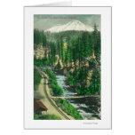 Vista de Mt. Shasta del retratamiento de Shasta Tarjeta De Felicitación