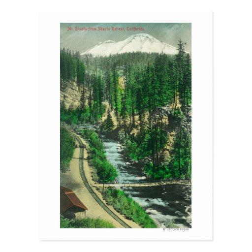 Vista de Mt. Shasta del retratamiento de Shasta Tarjetas Postales