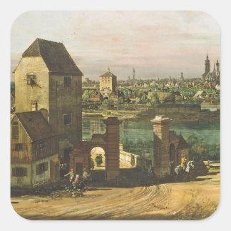 Vista de Munich, C. 1761 (aceite en lona) Pegatina Cuadrada