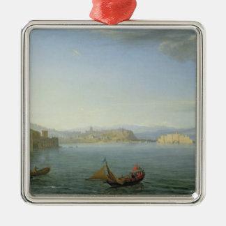 Vista de Nápoles, 1750 Adorno Navideño Cuadrado De Metal