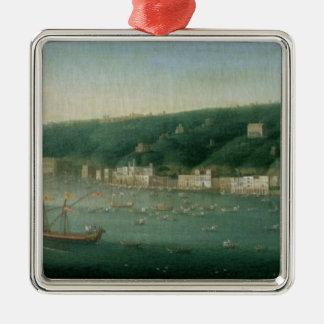 Vista de Nápoles del este, 1730 Adorno Navideño Cuadrado De Metal