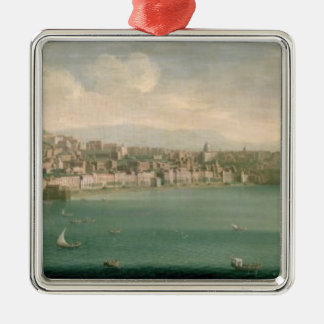 Vista de Nápoles del oeste, 1730 Adorno Navideño Cuadrado De Metal