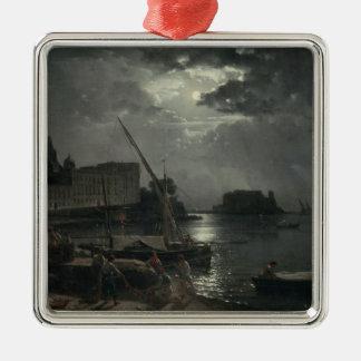Vista de Nápoles en el claro de luna, 1829 Adorno Cuadrado Plateado