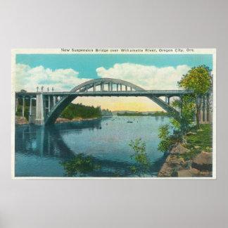 Vista de nuevo puente colgante póster