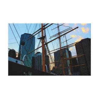 Vista de NYC del puerto del sur de la calle Impresión En Lienzo Estirada