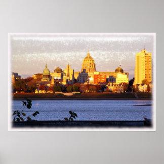 Vista de oro de Harrisburg, poster del PA