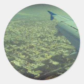 Vista de pájaro de Dubai Pegatina Redonda
