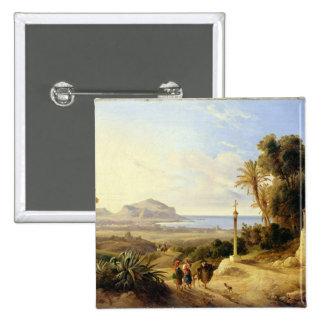 Vista de Palermo, 1840 Pin Cuadrada 5 Cm